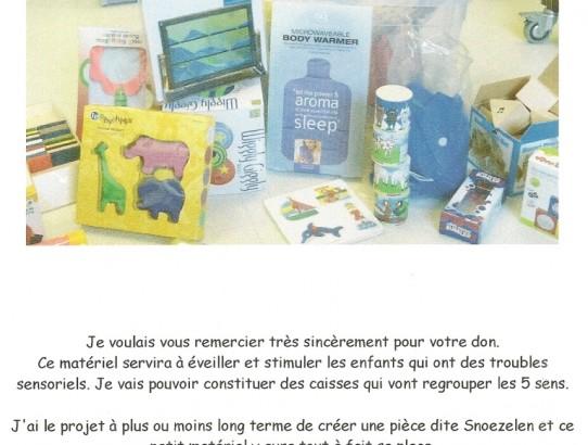Les remerciements de l'I.E.M. Marc Sautelet de Villeneuve d'Ascq